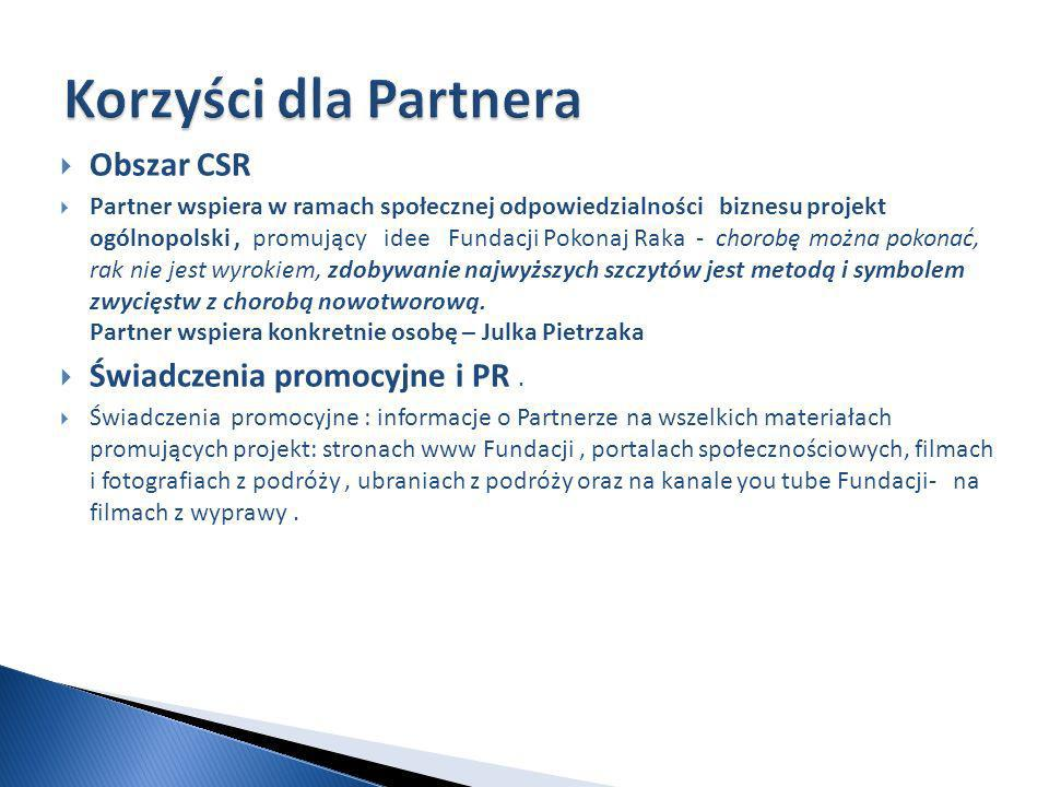 Obszar CSR Partner wspiera w ramach społecznej odpowiedzialności biznesu projekt ogólnopolski, promujący idee Fundacji Pokonaj Raka - chorobę można pokonać, rak nie jest wyrokiem, zdobywanie najwyższych szczytów jest metodą i symbolem zwycięstw z chorobą nowotworową.