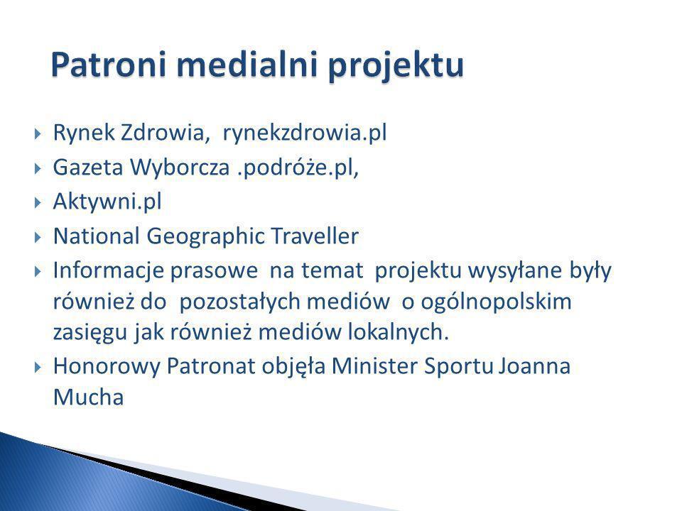 Rynek Zdrowia, rynekzdrowia.pl Gazeta Wyborcza.podróże.pl, Aktywni.pl National Geographic Traveller Informacje prasowe na temat projektu wysyłane były również do pozostałych mediów o ogólnopolskim zasięgu jak również mediów lokalnych.
