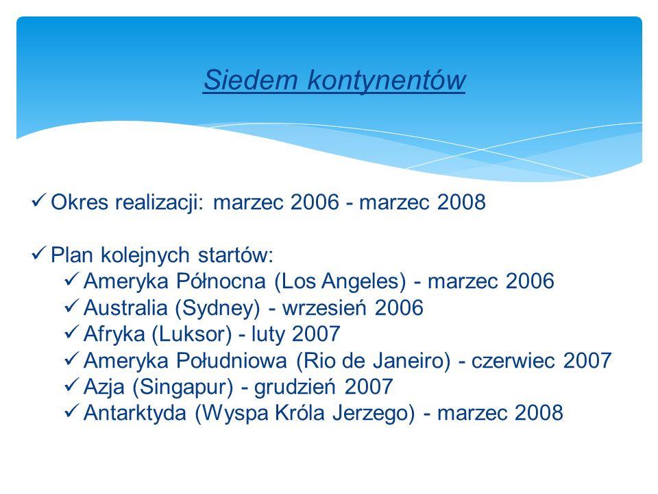 Siedem kontynentów Okres realizacji: marzec 2006 - marzec 2008 Plan kolejnych startów: Ameryka Północna (Los Angeles) - marzec 2006 Australia (Sydney) - wrzesień 2006 Afryka (Luksor) - luty 2007 Ameryka Południowa (Rio de Janeiro) - czerwiec 2007 Azja (Singapur) - grudzień 2007 Antarktyda (Wyspa Króla Jerzego) - marzec 2008