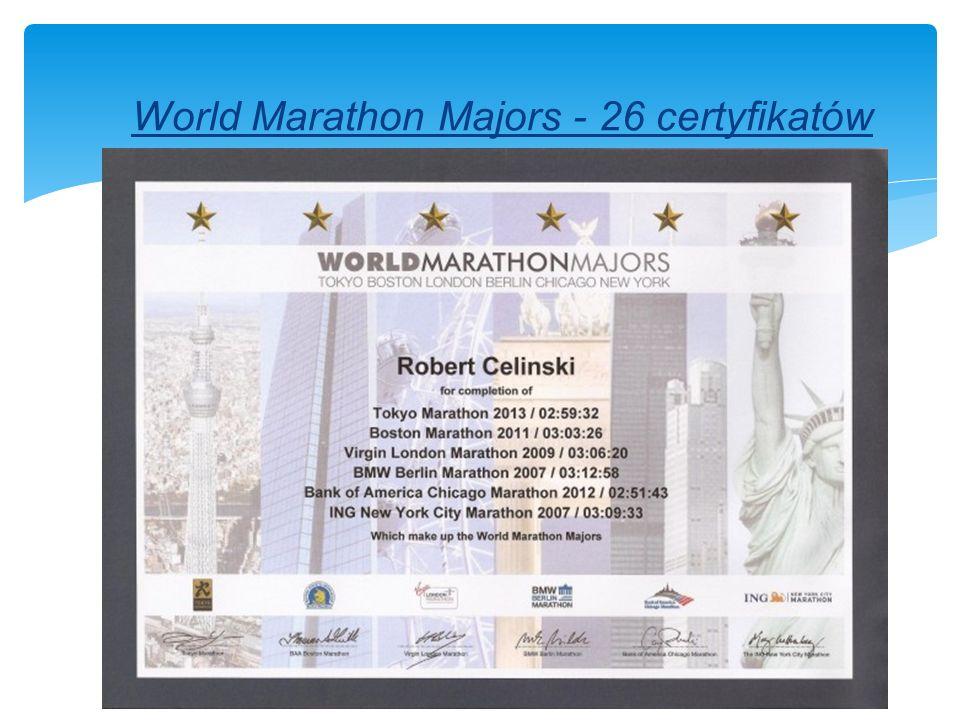 World Marathon Majors - 26 certyfikatów