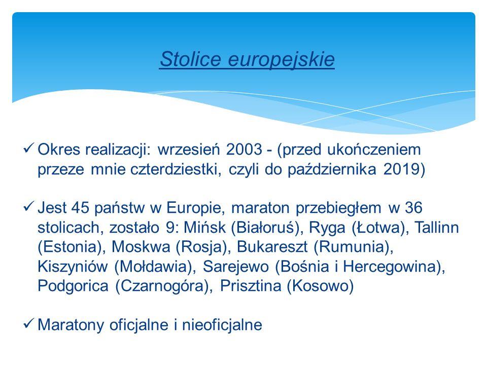 Stolice europejskie Okres realizacji: wrzesień 2003 - (przed ukończeniem przeze mnie czterdziestki, czyli do października 2019) Jest 45 państw w Europie, maraton przebiegłem w 36 stolicach, zostało 9: Mińsk (Białoruś), Ryga (Łotwa), Tallinn (Estonia), Moskwa (Rosja), Bukareszt (Rumunia), Kiszyniów (Mołdawia), Sarejewo (Bośnia i Hercegowina), Podgorica (Czarnogóra), Prisztina (Kosowo) Maratony oficjalne i nieoficjalne