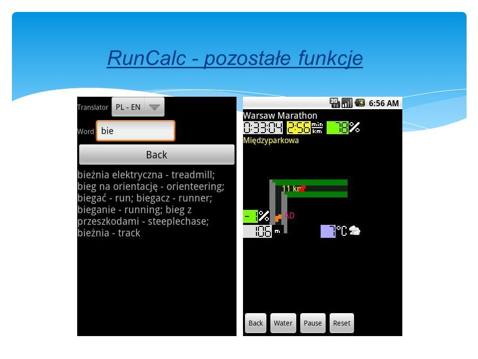 RunCalc - pozostałe funkcje