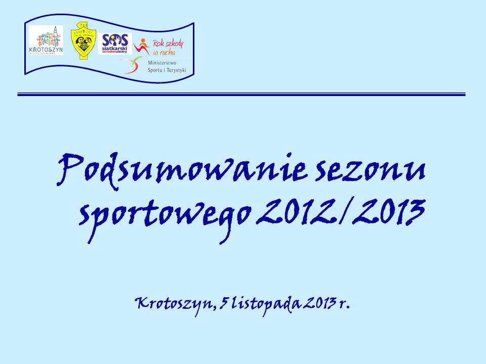 Podsumowanie sezonu sportowego 2012/2013 Krotoszyn, 5 listopada 2013 r.