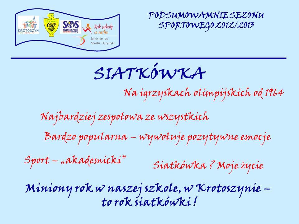 SIATKÓWKA PODSUMOWAMNIE SEZONU SPORTOWEGO 2012/2013 Siatkówka .
