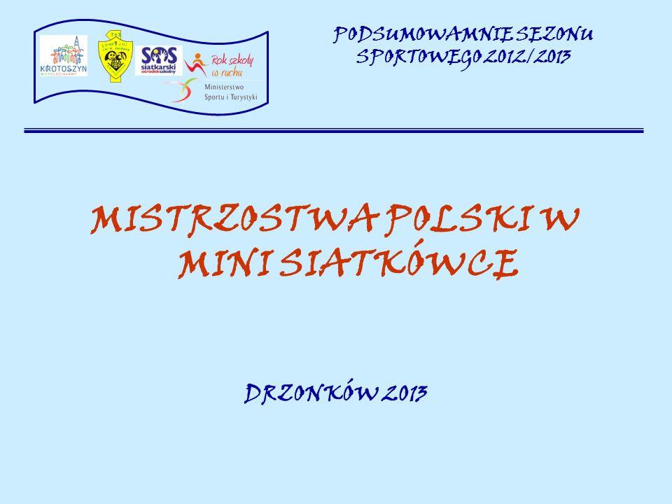 MISTRZOSTWA POLSKI W MINI SIATKÓWCE DRZONKÓW 2013 PODSUMOWAMNIE SEZONU SPORTOWEGO 2012/2013
