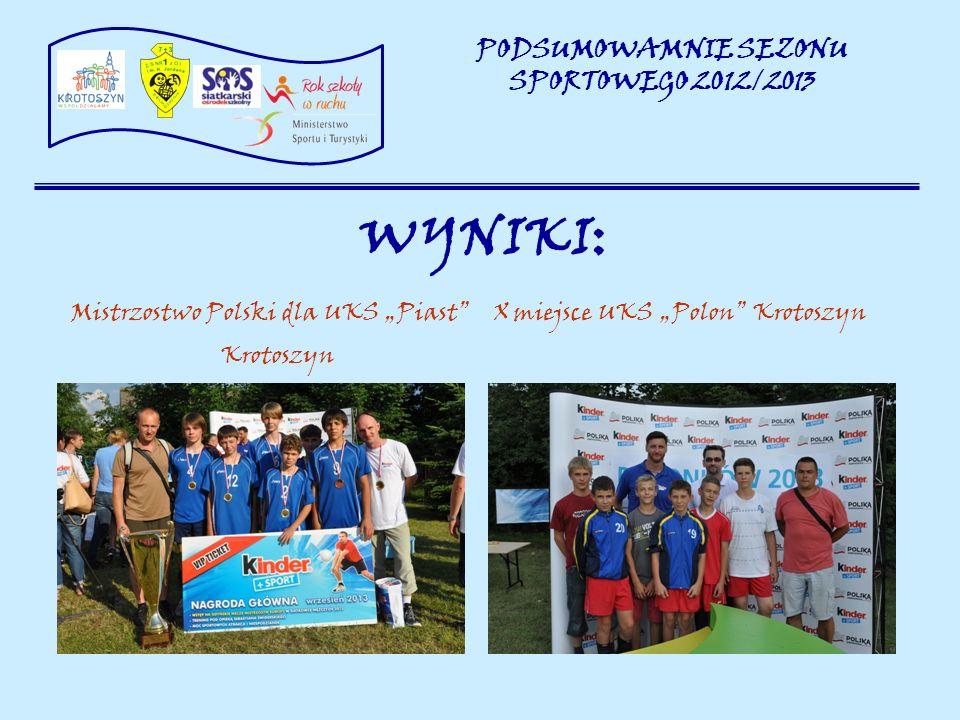 WYNIKI: Mistrzostwo Polski dla UKS Piast X miejsce UKS Polon Krotoszyn Krotoszyn PODSUMOWAMNIE SEZONU SPORTOWEGO 2012/2013