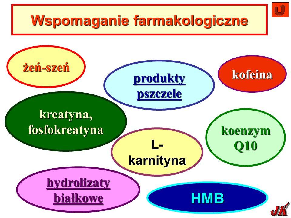 żeń-szeń produkty pszczele produkty pszczele kreatyna, fosfokreatyna L- karnityna koenzym Q10 hydrolizaty białkowe hydrolizaty białkoweHMB Wspomaganie farmakologiczne kofeina