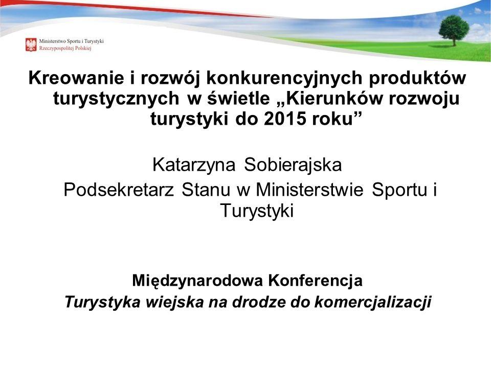 Kreowanie i rozwój konkurencyjnych produktów turystycznych w świetle Kierunków rozwoju turystyki do 2015 roku Katarzyna Sobierajska Podsekretarz Stanu w Ministerstwie Sportu i Turystyki Międzynarodowa Konferencja Turystyka wiejska na drodze do komercjalizacji