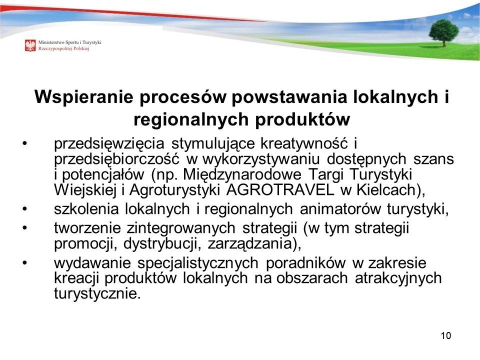 10 Wspieranie procesów powstawania lokalnych i regionalnych produktów przedsięwzięcia stymulujące kreatywność i przedsiębiorczość w wykorzystywaniu dostępnych szans i potencjałów (np.