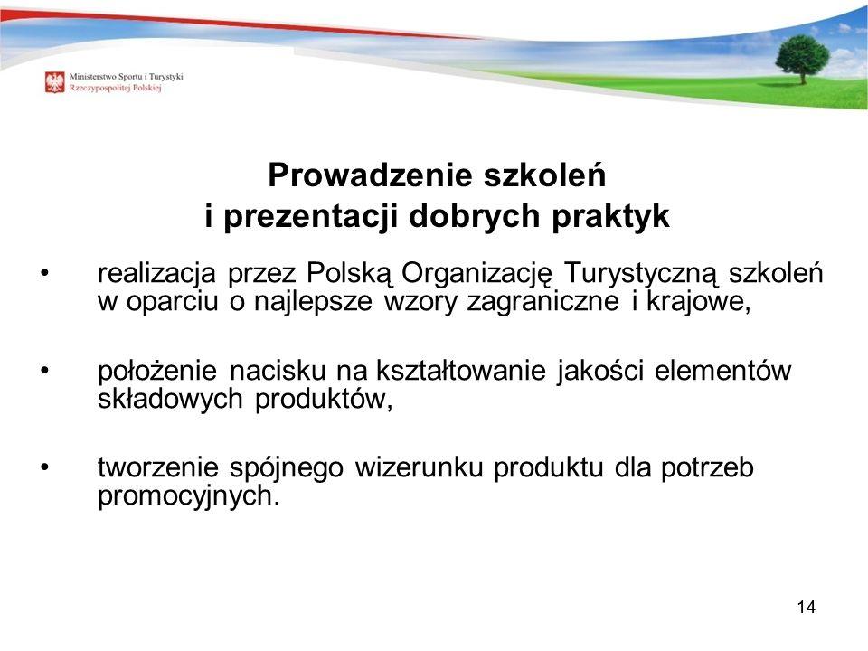 14 Prowadzenie szkoleń i prezentacji dobrych praktyk realizacja przez Polską Organizację Turystyczną szkoleń w oparciu o najlepsze wzory zagraniczne i krajowe, położenie nacisku na kształtowanie jakości elementów składowych produktów, tworzenie spójnego wizerunku produktu dla potrzeb promocyjnych.