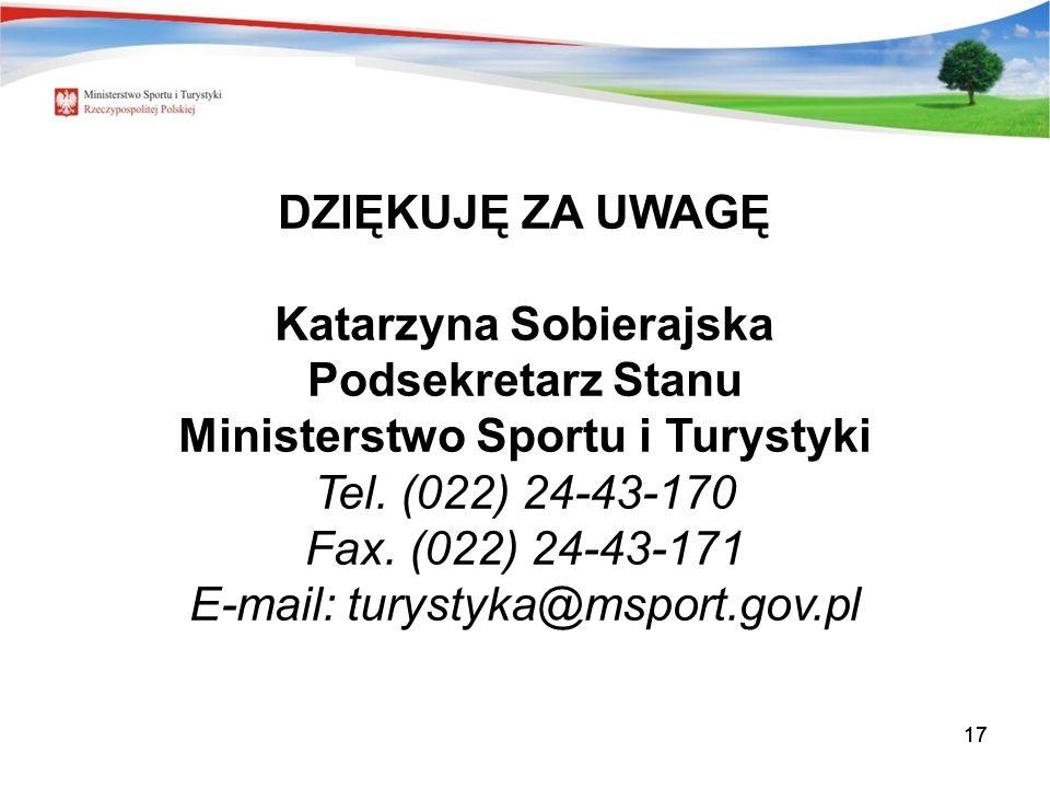 17 DZIĘKUJĘ ZA UWAGĘ Katarzyna Sobierajska Podsekretarz Stanu Ministerstwo Sportu i Turystyki Tel. (022) 24-43-170 Fax. (022) 24-43-171 E-mail: turyst