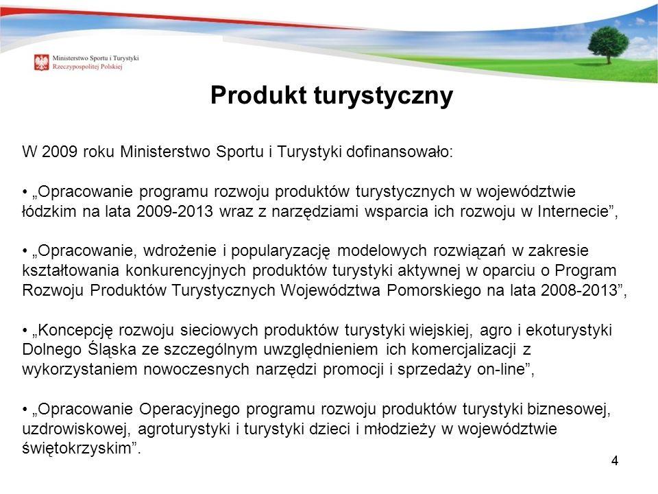 44 W 2009 roku Ministerstwo Sportu i Turystyki dofinansowało: Opracowanie programu rozwoju produktów turystycznych w województwie łódzkim na lata 2009