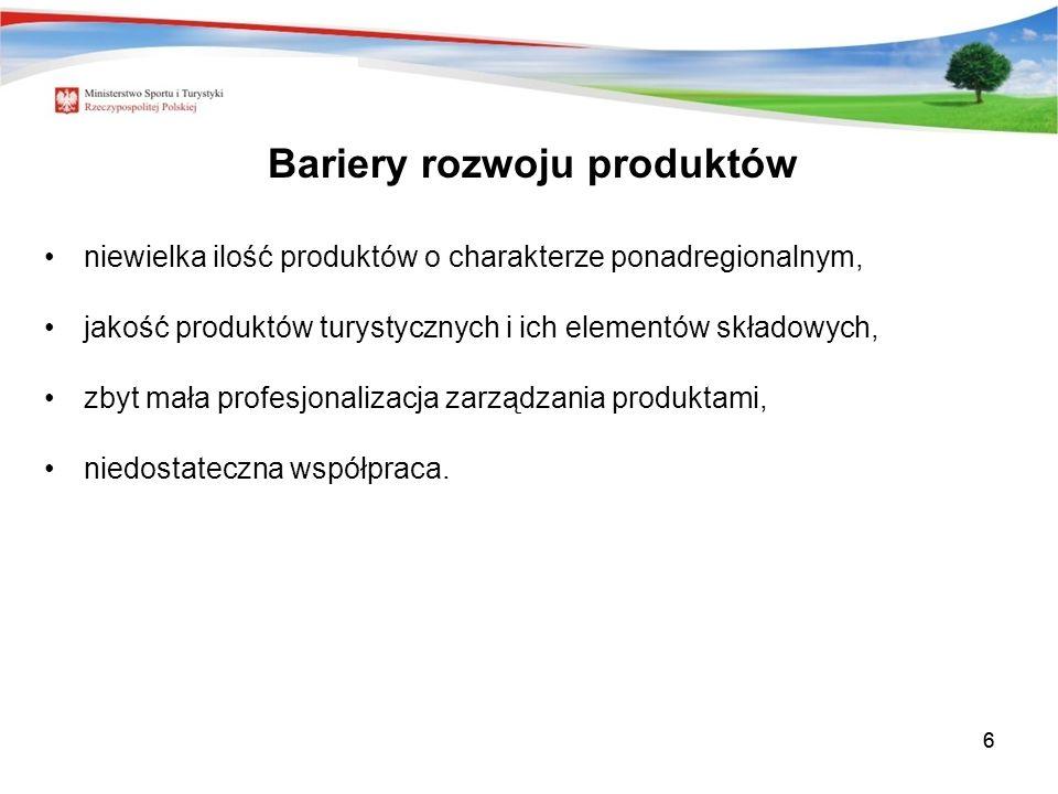 66 Bariery rozwoju produktów niewielka ilość produktów o charakterze ponadregionalnym, jakość produktów turystycznych i ich elementów składowych, zbyt