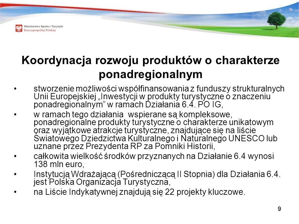 99 Koordynacja rozwoju produktów o charakterze ponadregionalnym stworzenie możliwości współfinansowania z funduszy strukturalnych Unii Europejskiej Inwestycji w produkty turystyczne o znaczeniu ponadregionalnym w ramach Działania 6.4.
