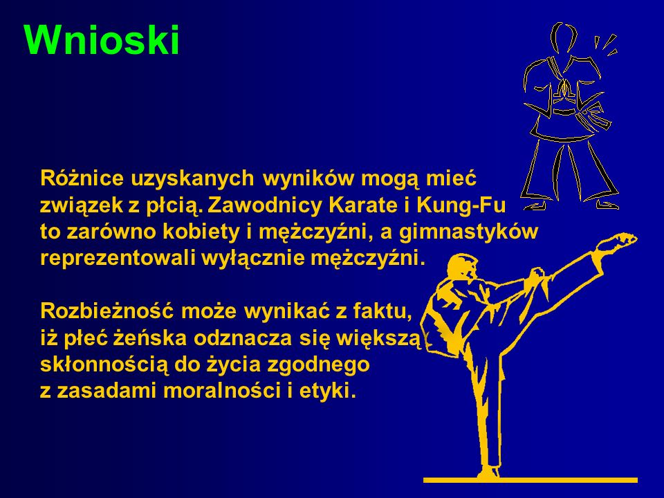 Wnioski Różnice uzyskanych wyników mogą mieć związek z płcią. Zawodnicy Karate i Kung-Fu to zarówno kobiety i mężczyźni, a gimnastyków reprezentowali