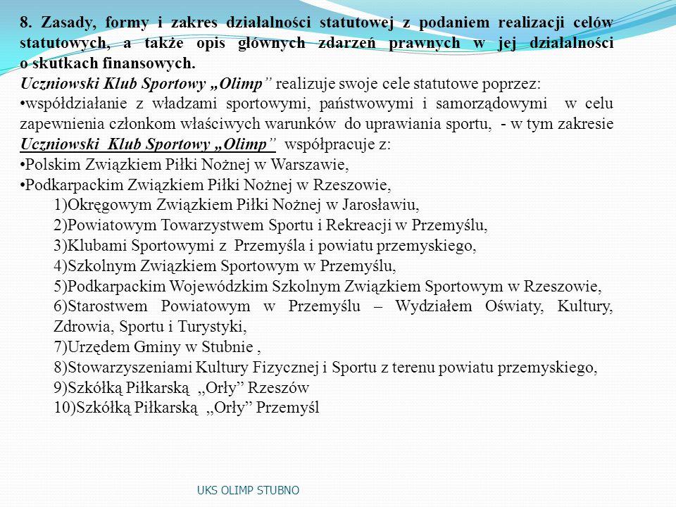 7. Cele statutowe Stowarzyszenia: Cele szczegółowe: specjalistyczne prowadzenie sekcji sportowej piłki nożnej, planowanie i organizowanie życia sporto