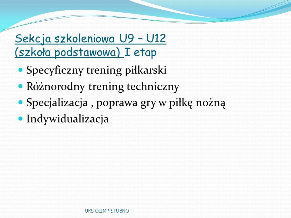 Sekcja szkoleniowa U9 – U12 (szkoła podstawowa) I etap Specyficzny trening piłkarski Różnorodny trening techniczny Specjalizacja, poprawa gry w piłkę nożną Indywidualizacja UKS OLIMP STUBNO