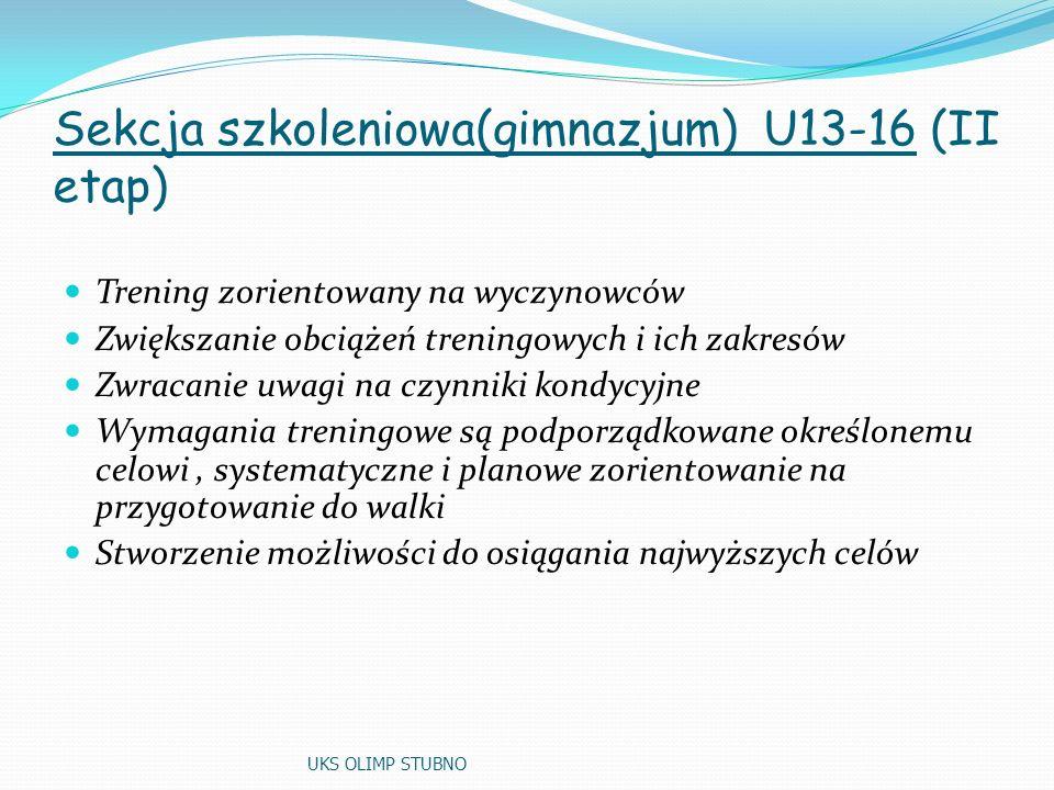 Sekcja szkoleniowa(gimnazjum) U13-16 (II etap) Trening zorientowany na wyczynowców Zwiększanie obciążeń treningowych i ich zakresów Zwracanie uwagi na czynniki kondycyjne Wymagania treningowe są podporządkowane określonemu celowi, systematyczne i planowe zorientowanie na przygotowanie do walki Stworzenie możliwości do osiągania najwyższych celów UKS OLIMP STUBNO