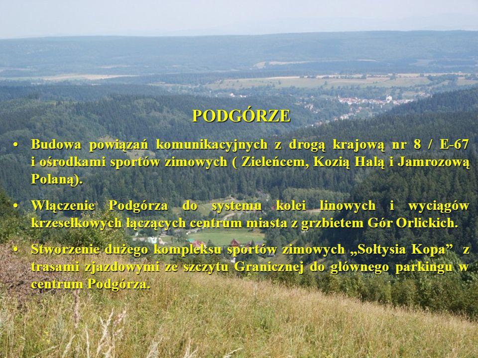 PODGÓRZE Budowa powiązań komunikacyjnych z drogą krajową nr 8 / E-67 i ośrodkami sportów zimowych ( Zieleńcem, Kozią Halą i Jamrozową Polaną).Budowa powiązań komunikacyjnych z drogą krajową nr 8 / E-67 i ośrodkami sportów zimowych ( Zieleńcem, Kozią Halą i Jamrozową Polaną).