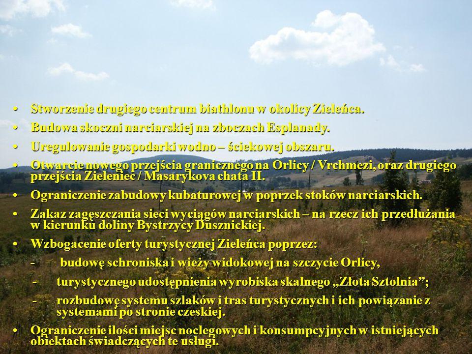 Stworzenie drugiego centrum biathlonu w okolicy Zieleńca.Stworzenie drugiego centrum biathlonu w okolicy Zieleńca.