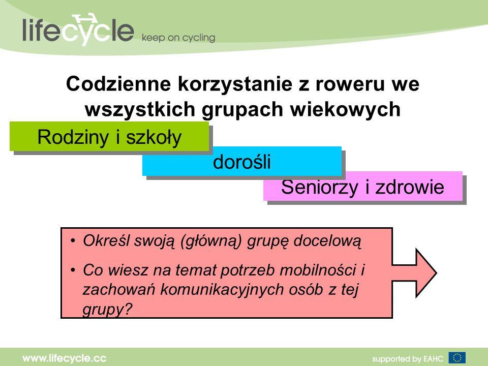Codzienne korzystanie z roweru we wszystkich grupach wiekowych Seniorzy i zdrowie dorośli Rodziny i szkoły Określ swoją (główną) grupę docelową Co wiesz na temat potrzeb mobilności i zachowań komunikacyjnych osób z tej grupy