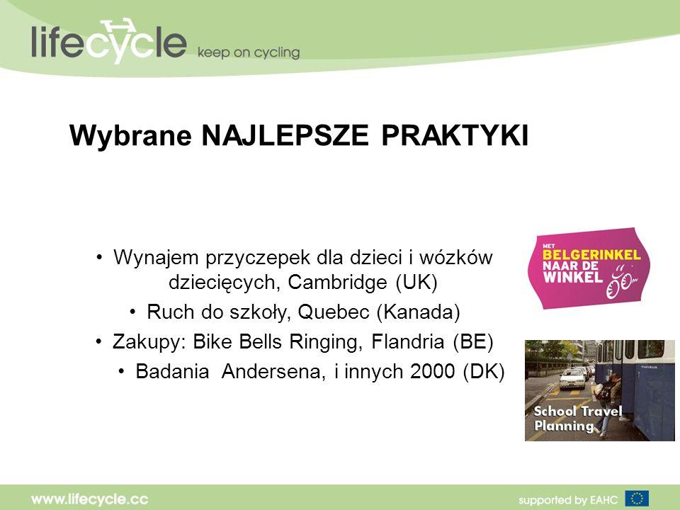 Wybrane NAJLEPSZE PRAKTYKI Wynajem przyczepek dla dzieci i wózków dziecięcych, Cambridge (UK) Ruch do szkoły, Quebec (Kanada) Zakupy: Bike Bells Ringing, Flandria (BE) Badania Andersena, i innych 2000 (DK)