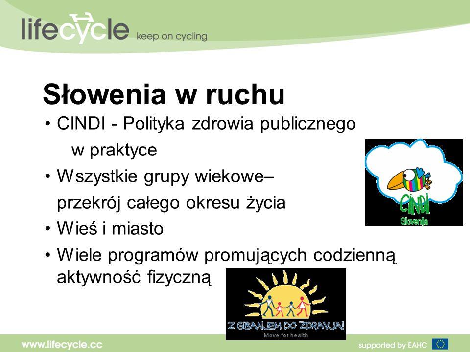 Słowenia w ruchu CINDI - Polityka zdrowia publicznego w praktyce Wszystkie grupy wiekowe– przekrój całego okresu życia Wieś i miasto Wiele programów promujących codzienną aktywność fizyczną