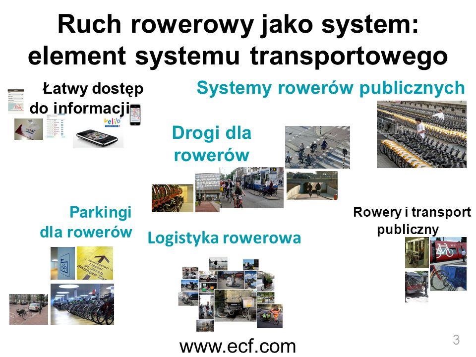 www.ecf.com 3 Ruch rowerowy jako system: element systemu transportowego Systemy rowerów publicznych Rowery i transport publiczny Parkingi dla rowerów Łatwy dostęp do informacji Logistyka rowerowa Drogi dla rowerów