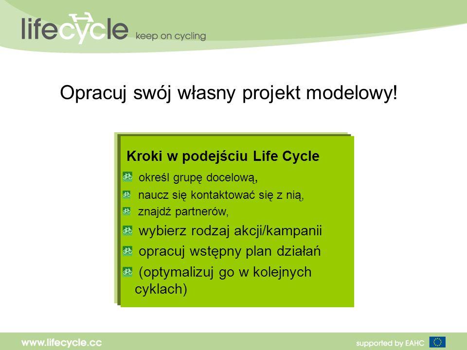 Kroki w podejściu Life Cycle określ grupę docelową, naucz się kontaktować się z nią, znajdź partnerów, wybierz rodzaj akcji/kampanii opracuj wstępny plan działań (optymalizuj go w kolejnych cyklach) Opracuj swój własny projekt modelowy!