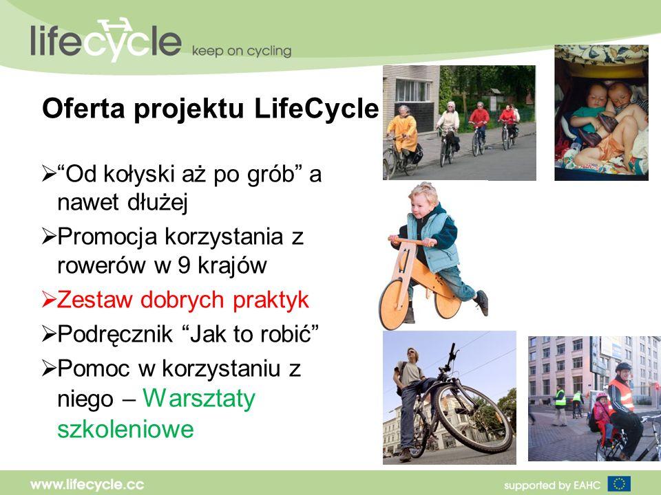 Oferta projektu LifeCycle Od kołyski aż po grób a nawet dłużej Promocja korzystania z rowerów w 9 krajów Zestaw dobrych praktyk Podręcznik Jak to robić Pomoc w korzystaniu z niego – Warsztaty szkoleniowe