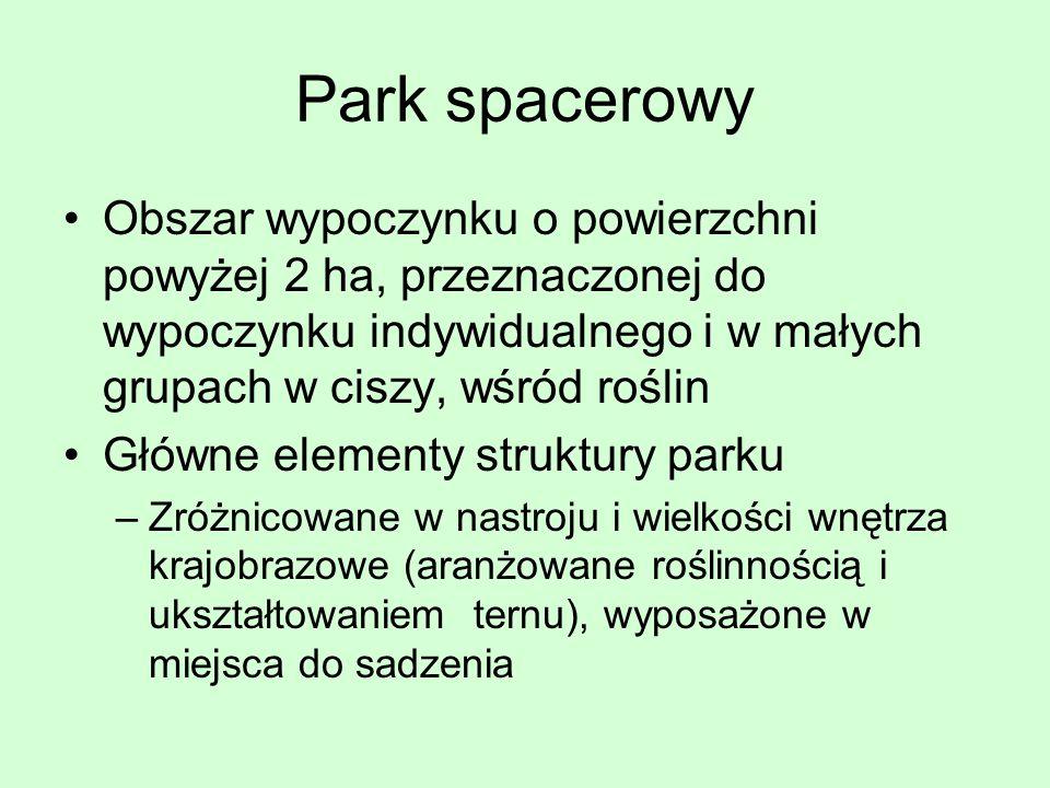 Park spacerowy Obszar wypoczynku o powierzchni powyżej 2 ha, przeznaczonej do wypoczynku indywidualnego i w małych grupach w ciszy, wśród roślin Główn