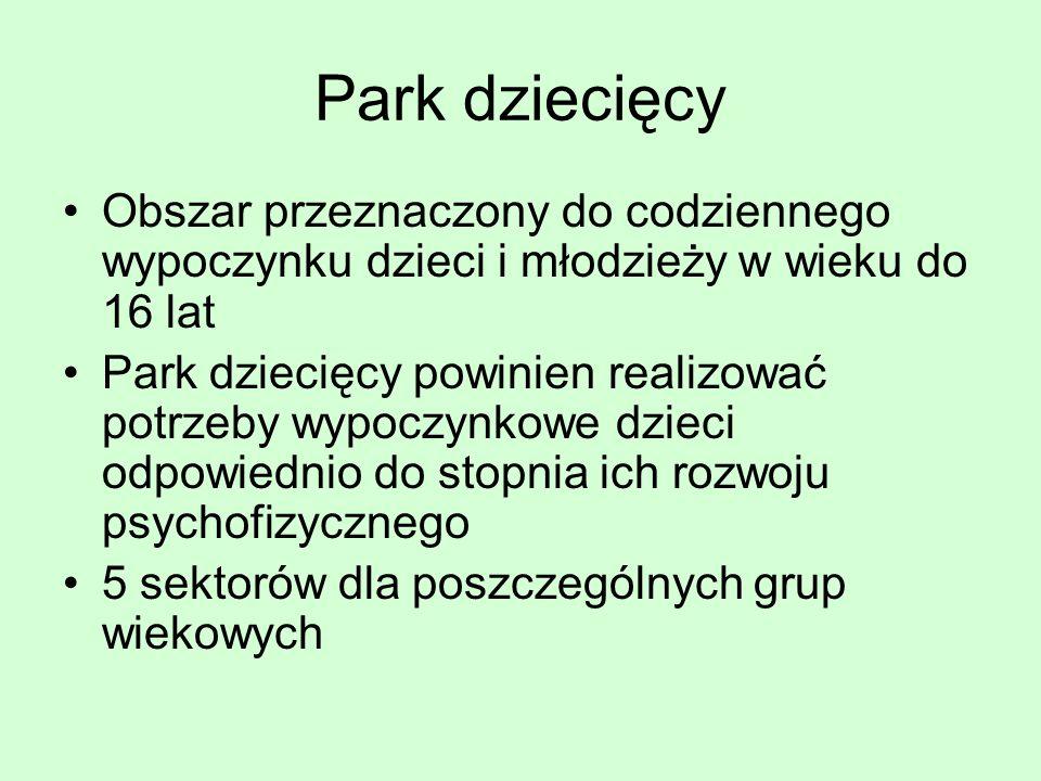 Park dziecięcy Obszar przeznaczony do codziennego wypoczynku dzieci i młodzieży w wieku do 16 lat Park dziecięcy powinien realizować potrzeby wypoczyn