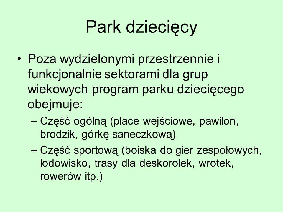 Park dziecięcy Poza wydzielonymi przestrzennie i funkcjonalnie sektorami dla grup wiekowych program parku dziecięcego obejmuje: –Część ogólną (place w