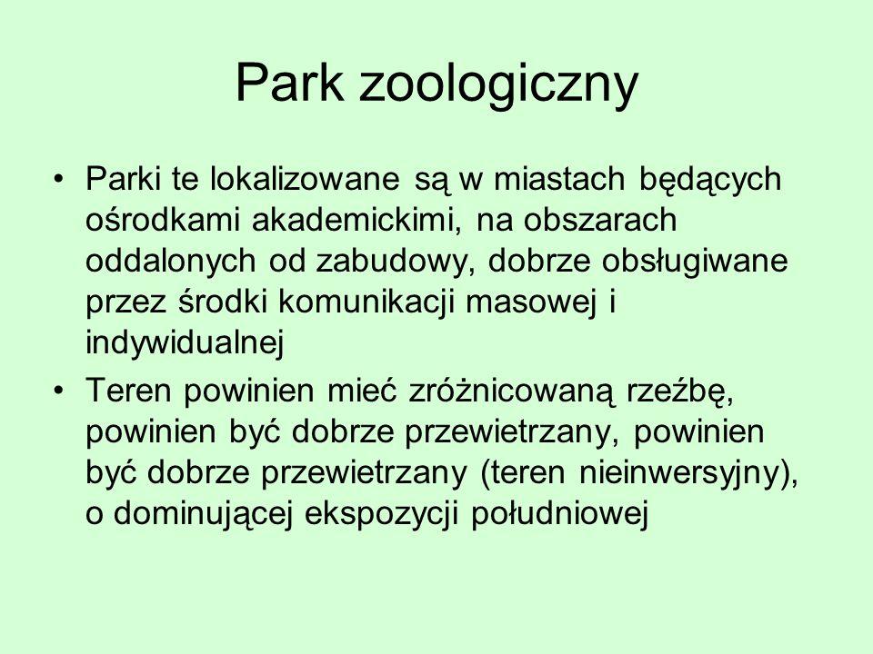 Park zoologiczny Parki te lokalizowane są w miastach będących ośrodkami akademickimi, na obszarach oddalonych od zabudowy, dobrze obsługiwane przez śr