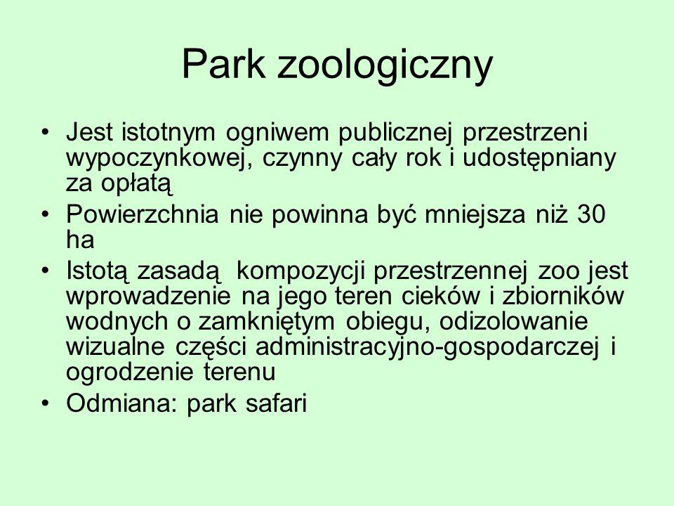 Park zoologiczny Jest istotnym ogniwem publicznej przestrzeni wypoczynkowej, czynny cały rok i udostępniany za opłatą Powierzchnia nie powinna być mni