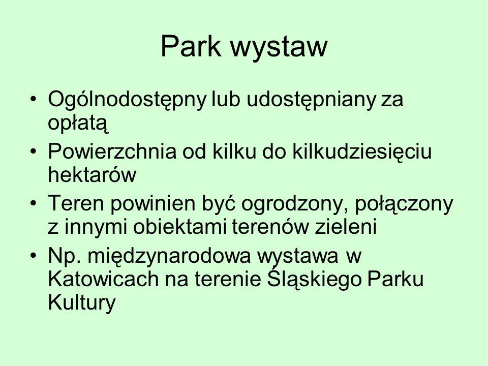 Park wystaw Ogólnodostępny lub udostępniany za opłatą Powierzchnia od kilku do kilkudziesięciu hektarów Teren powinien być ogrodzony, połączony z inny