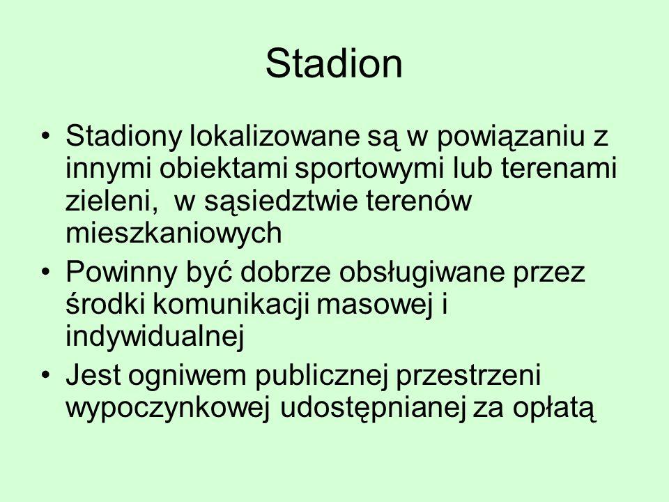 Stadion Stadiony lokalizowane są w powiązaniu z innymi obiektami sportowymi lub terenami zieleni, w sąsiedztwie terenów mieszkaniowych Powinny być dob