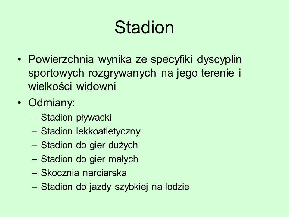 Stadion Powierzchnia wynika ze specyfiki dyscyplin sportowych rozgrywanych na jego terenie i wielkości widowni Odmiany: –Stadion pływacki –Stadion lek