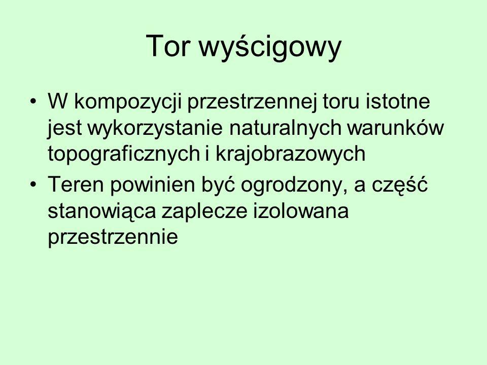 Tor wyścigowy W kompozycji przestrzennej toru istotne jest wykorzystanie naturalnych warunków topograficznych i krajobrazowych Teren powinien być ogro