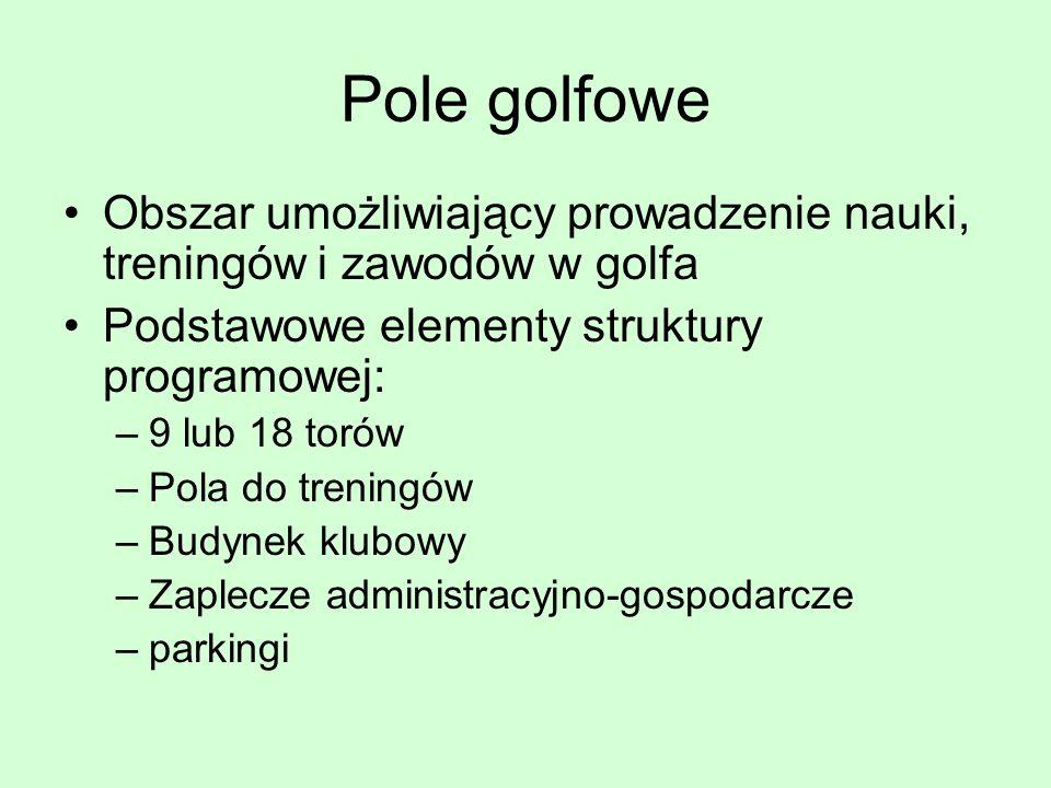 Pole golfowe Obszar umożliwiający prowadzenie nauki, treningów i zawodów w golfa Podstawowe elementy struktury programowej: –9 lub 18 torów –Pola do t