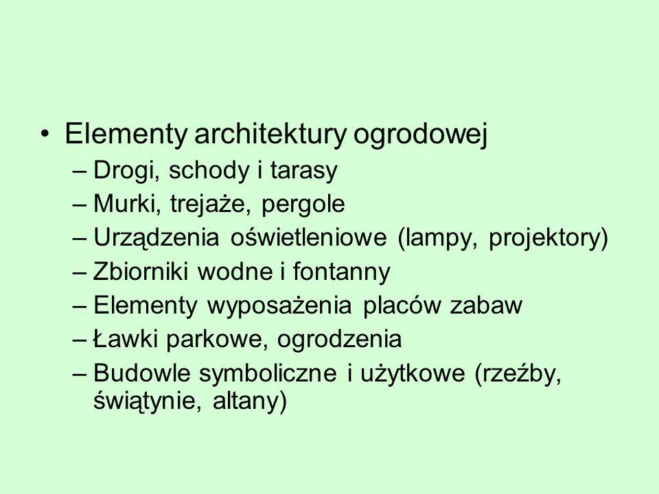 Elementy architektury ogrodowej –Drogi, schody i tarasy –Murki, trejaże, pergole –Urządzenia oświetleniowe (lampy, projektory) –Zbiorniki wodne i font