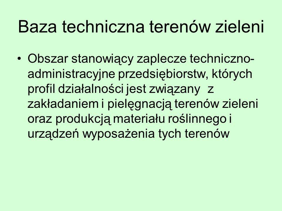 Baza techniczna terenów zieleni Obszar stanowiący zaplecze techniczno- administracyjne przedsiębiorstw, których profil działalności jest związany z za