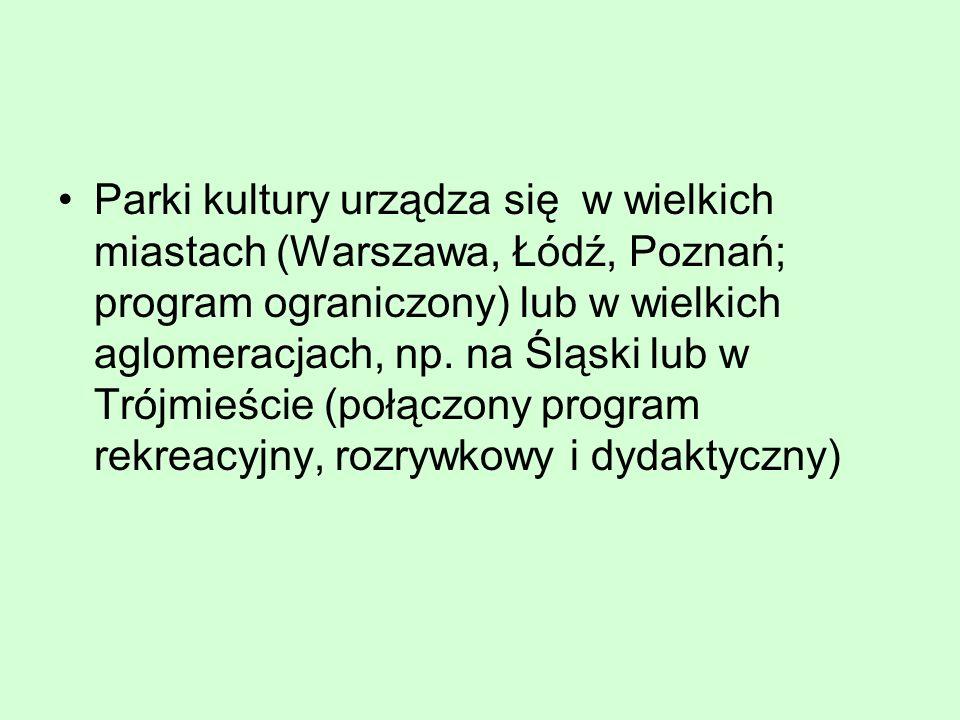 Parki kultury urządza się w wielkich miastach (Warszawa, Łódź, Poznań; program ograniczony) lub w wielkich aglomeracjach, np. na Śląski lub w Trójmieś