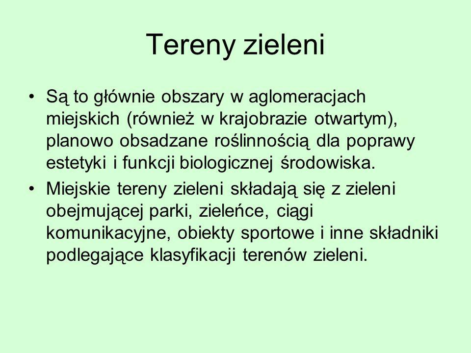 Klasyfikacja terenów zieleni Wg M. Szumański, A.Niemirski