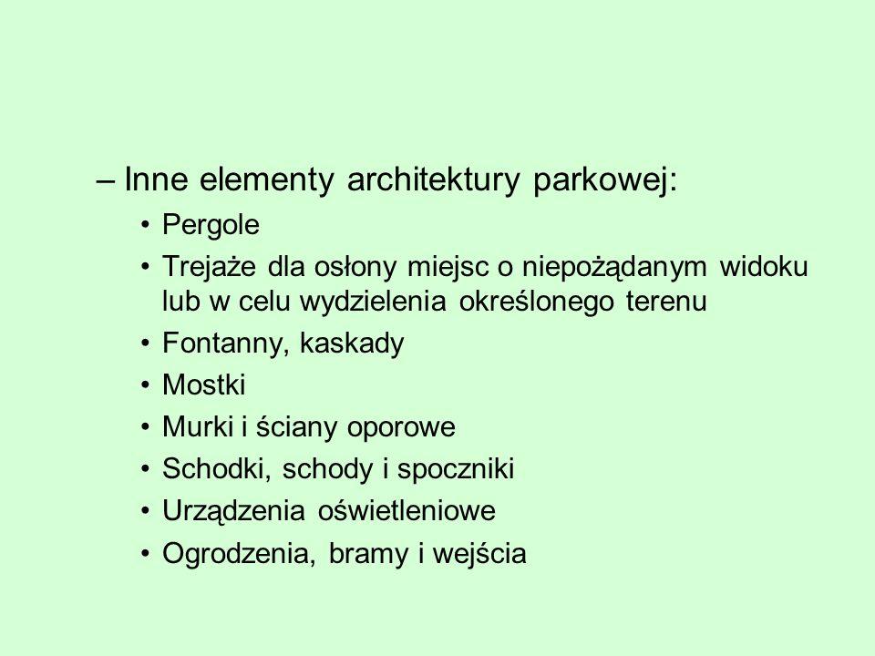 –Inne elementy architektury parkowej: Pergole Trejaże dla osłony miejsc o niepożądanym widoku lub w celu wydzielenia określonego terenu Fontanny, kask