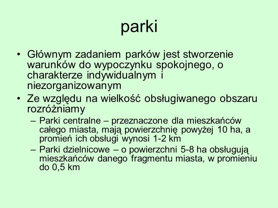 parki Głównym zadaniem parków jest stworzenie warunków do wypoczynku spokojnego, o charakterze indywidualnym i niezorganizowanym Ze względu na wielkoś