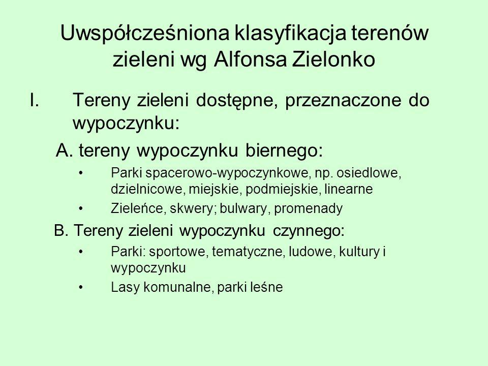 Uwspółcześniona klasyfikacja terenów zieleni wg Alfonsa Zielonko I.Tereny zieleni dostępne, przeznaczone do wypoczynku: A. tereny wypoczynku biernego: