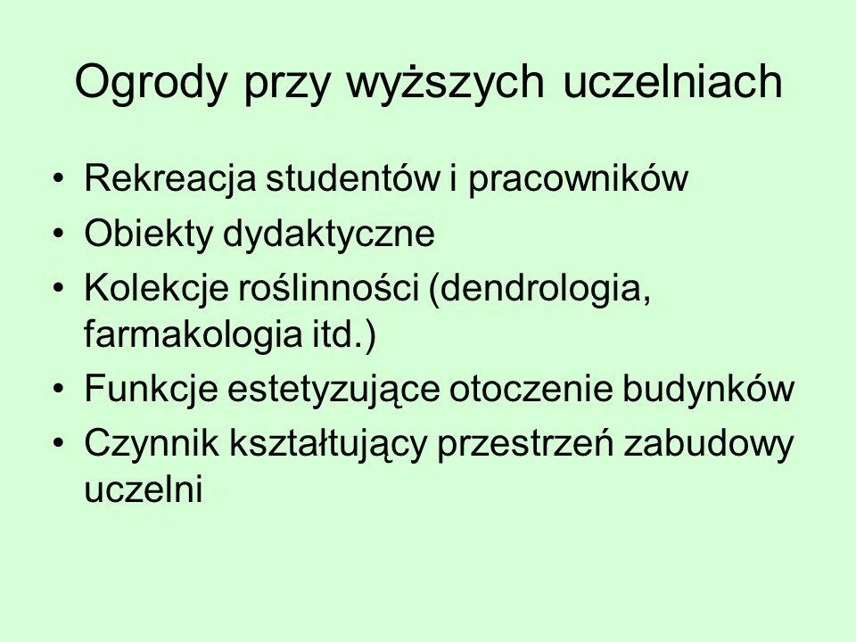 Ogrody przy wyższych uczelniach Rekreacja studentów i pracowników Obiekty dydaktyczne Kolekcje roślinności (dendrologia, farmakologia itd.) Funkcje es