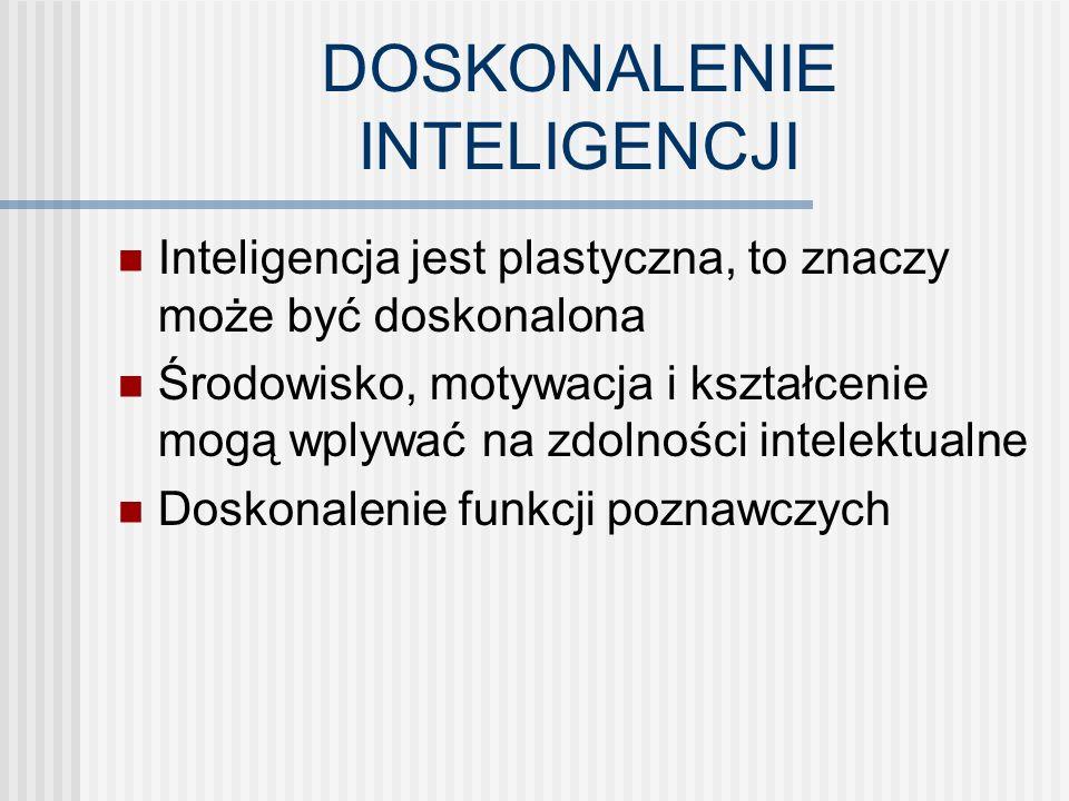 DOSKONALENIE INTELIGENCJI Inteligencja jest plastyczna, to znaczy może być doskonalona Środowisko, motywacja i kształcenie mogą wplywać na zdolności intelektualne Doskonalenie funkcji poznawczych