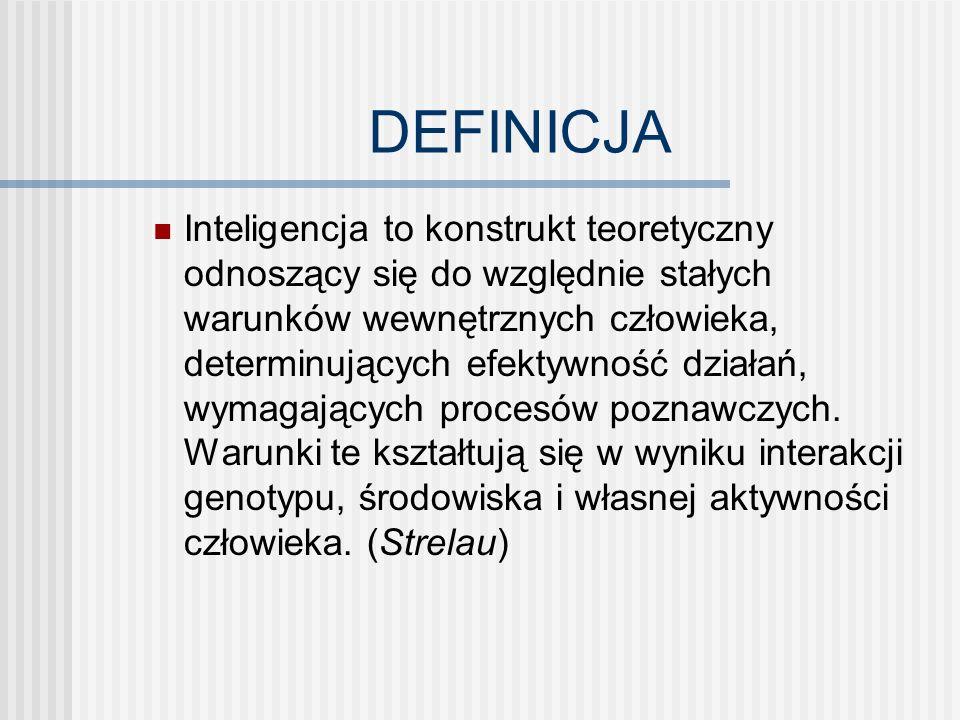 DEFINICJA Inteligencja to konstrukt teoretyczny odnoszący się do względnie stałych warunków wewnętrznych człowieka, determinujących efektywność działań, wymagających procesów poznawczych.